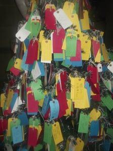 A Christmas tree of tags