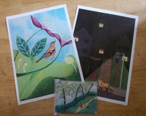 Bird Call and Night Life prints, The Walk cards
